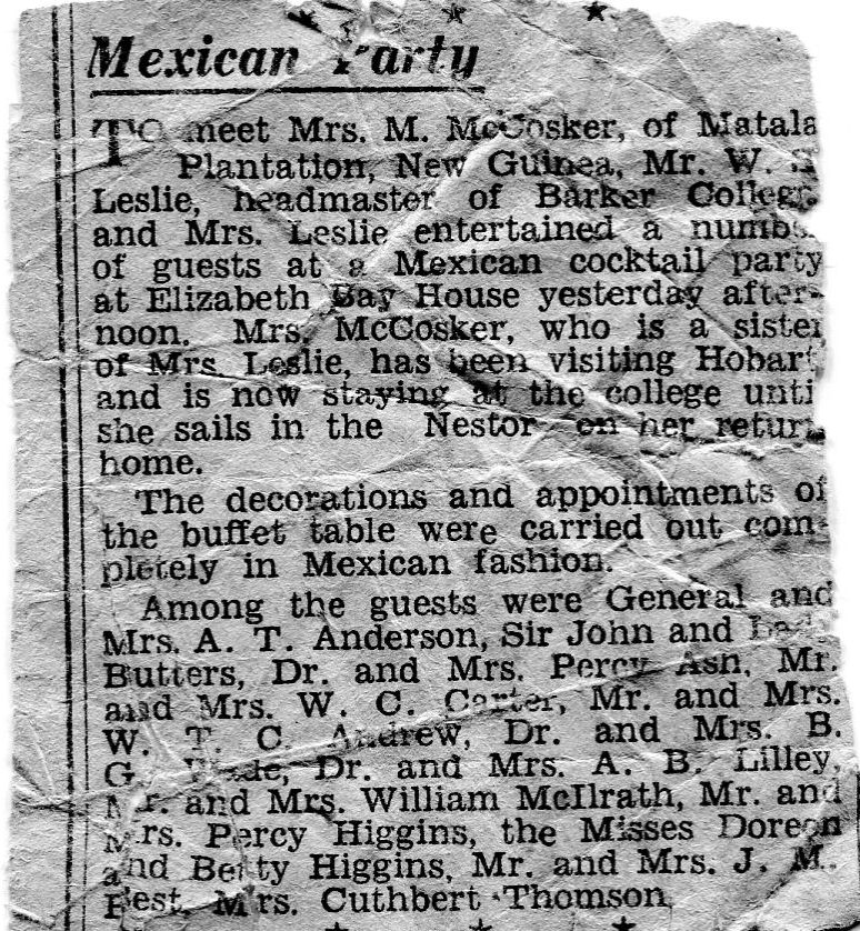 Marjorie McCosker entertained at Barker College by the Leslies.       Sydney Morning Herald, probably 1933